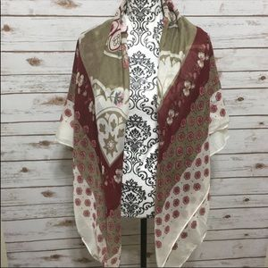 Old Navy Tan, red, & cream floral Scarf